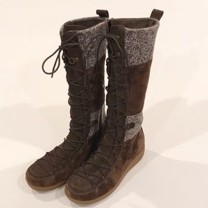 The North Face Brown Suede Knit Insulated Boots